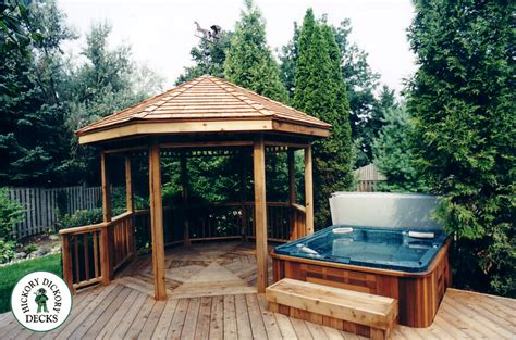 Built In Gazebo This All Cedar Deck With Gazebo And Built In Spa Is Truly