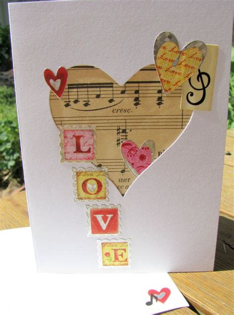Handmade Sheet Cards - song handmade card valentines day valentines day