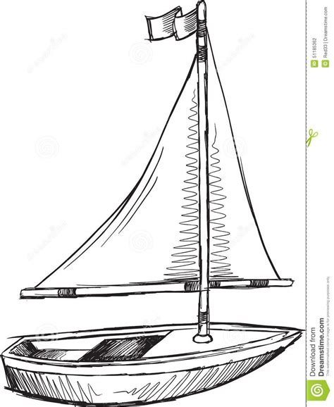 doodlebug boat doodle sail boat vector stock vector illustration of