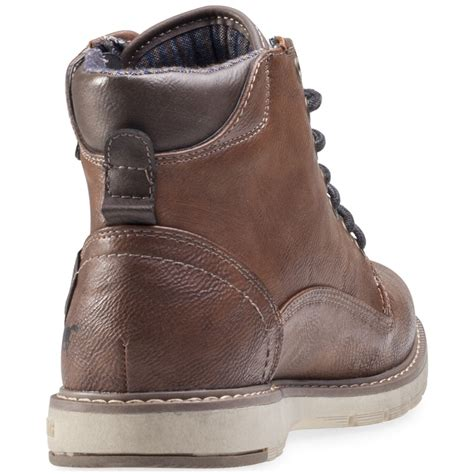 mustang hi top mens boots in brown