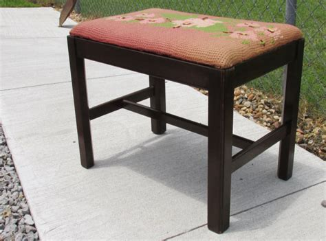 Antique Vanity Stools by Items Similar To Antique Needlepoint Wooden Vanity Stool