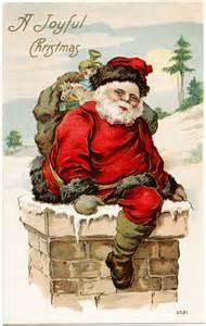 Vintage santa postcard old fashioned christmas card santa in chimney