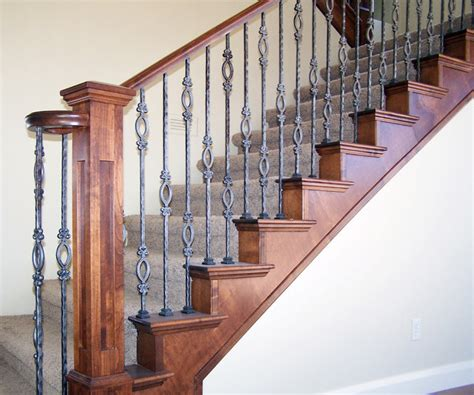 metal banister spindles wood railing with wrought iron balusters traditional
