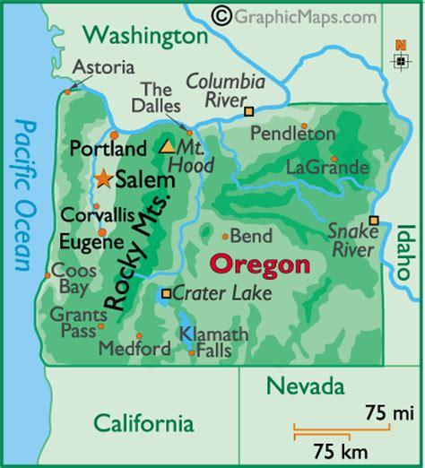 map of oregon landforms oregon map by world atlas