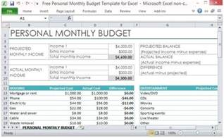 Personal Monthly Budget Template Free Free Personal Monthly Budget Template For Excel