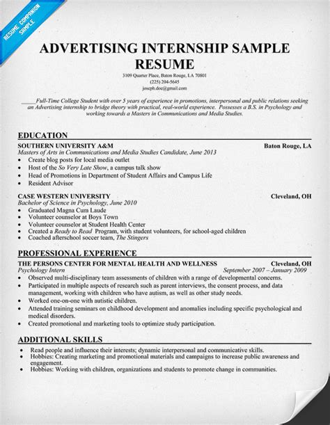 marketing internship resume sle