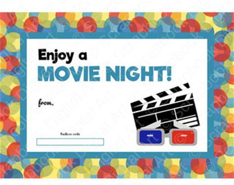 printable movie gift certificates printable redbox gift card tag printable card movie night
