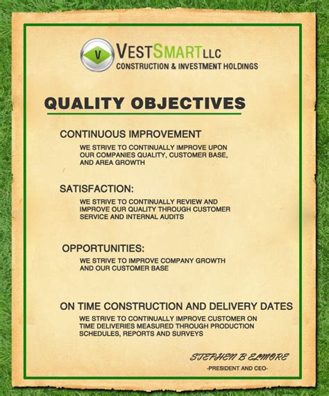 quality objectives template pin our quality objectives are on