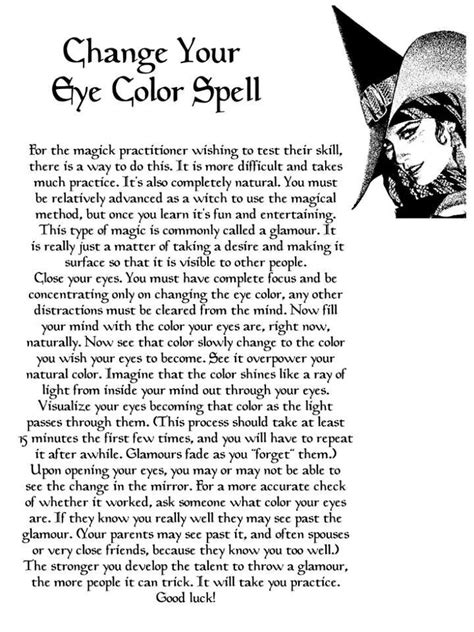 spell to change eye color change your eye color wicca