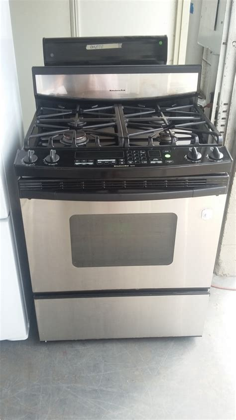 kitchenaid superba stainless  black  burner gas range