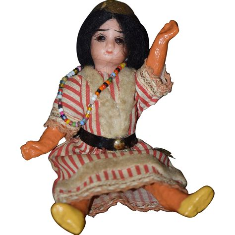bisque indian doll antique doll miniature bisque indian american dollhouse