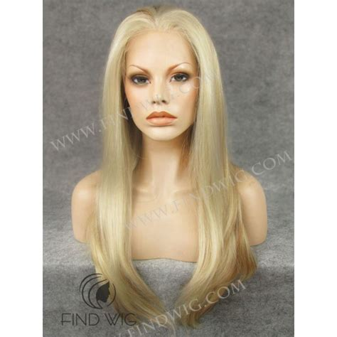 blonde highlighted wigs straight straw blonde highlighted long wig lace front wig