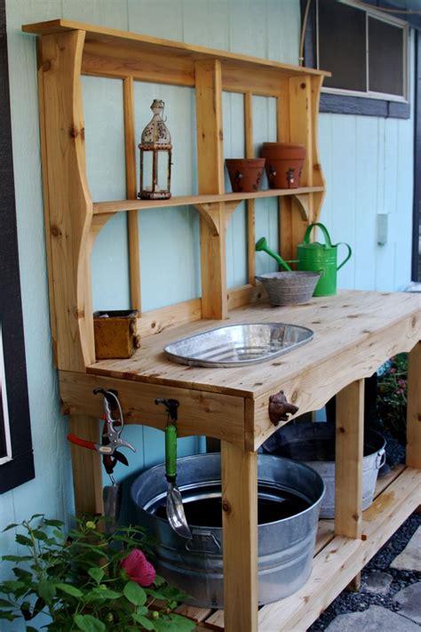 cedar potting bench with sink custom cedar potting station outdoor wet bar 595 00 via