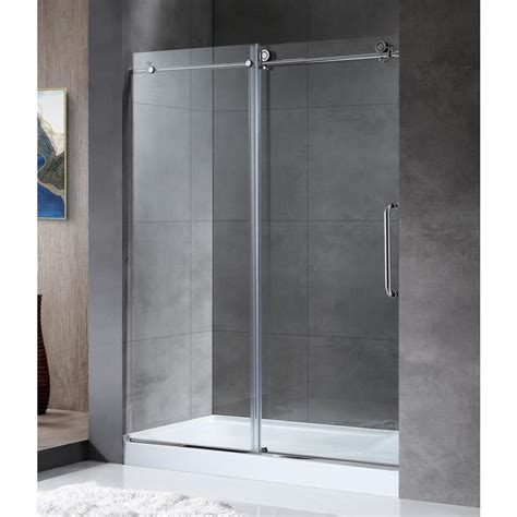 Chrome Shower Doors Shop Anzzi Madam Series 44 In To 48 In Frameless Polished Chrome Sliding Shower Door At Lowes