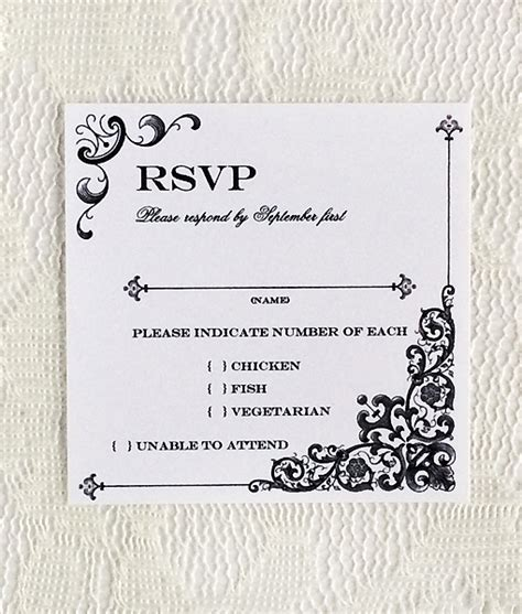 wedding rsvp cards template vintage iron lace square rsvp template print