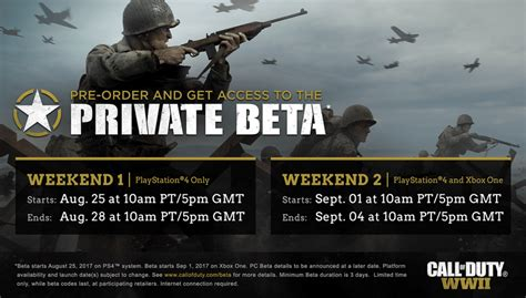 Call Of Duty 25 call of duty wwii beta begins august 25 on ps4