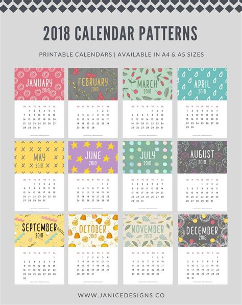 printable calendar review 2018 calendar patterns a5 binder clipboard wire binding