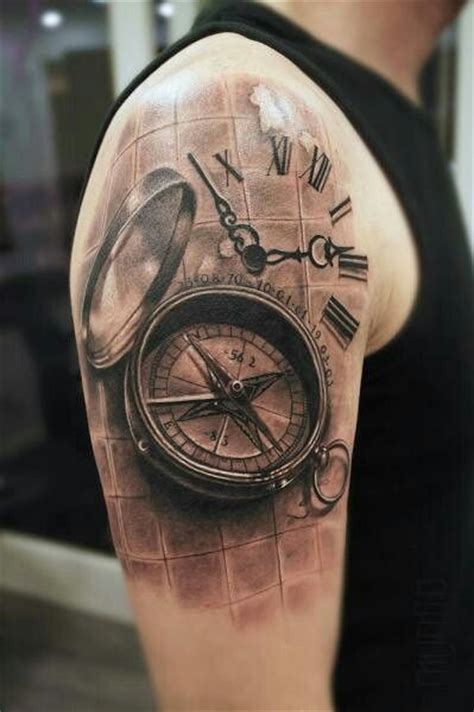 compass clock 3d tattoo tattoos amp body art inspiration