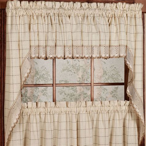 Cotton Kitchen Curtains Adirondack Cotton Kitchen Window Curtains Toast Tiers Valance Or Swag Curtains Drapes