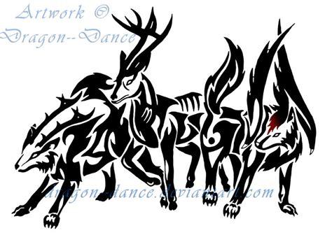tribal pattern deer tribal deer and wolves commission by dansudragon on deviantart