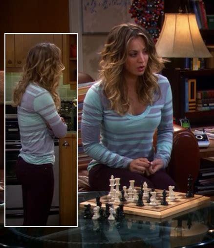 Big Theory Wardrobe by Wornontv Penny S Aqua And Purple Striped Sleeve