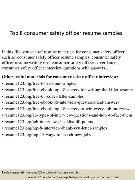 safety officer resume sle professional consumer safety officer templates 28 images