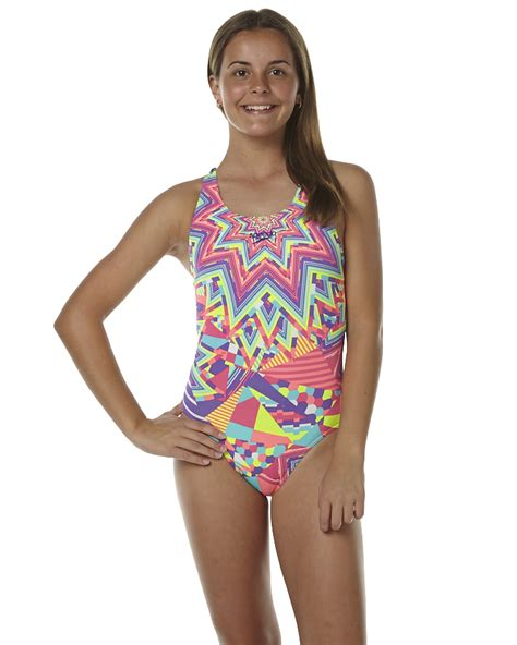 speedo one piece swimsuit kids speedo kids girls psycho tribal leaderback one piece