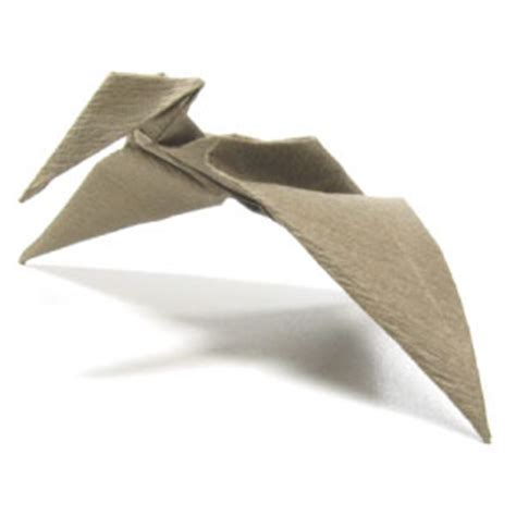 Origami Pterodactyl - how to make a simple origami pterosaur page 25