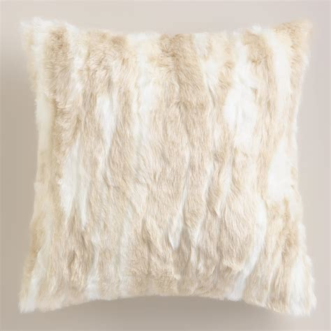 faux fur decorative pillows ivory faux fur throw pillow world market