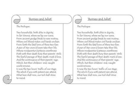 romeo juliet printable prologue for annotation by