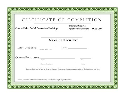 course completion certificate template certificate of