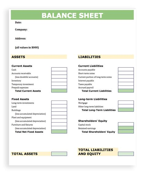 Balance Sheet Template Tryprodermagenix Org Balance Sheet Template
