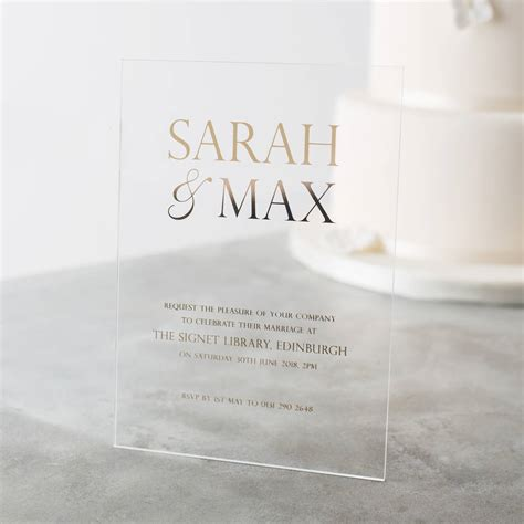 Personalised Wedding Invitations by Personalised Acrylic Foiled Wedding Invitations By Twenty