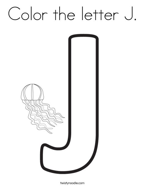 coloring page for the letter j color the letter j coloring page twisty noodle