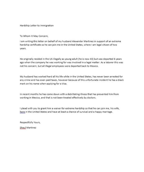 Hardship Letter To Va Hardship Letter For Immigration For My Husband Business Letter Template