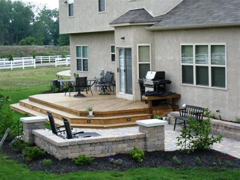 backyard plans designs concrete patios here s a deck patio that transition