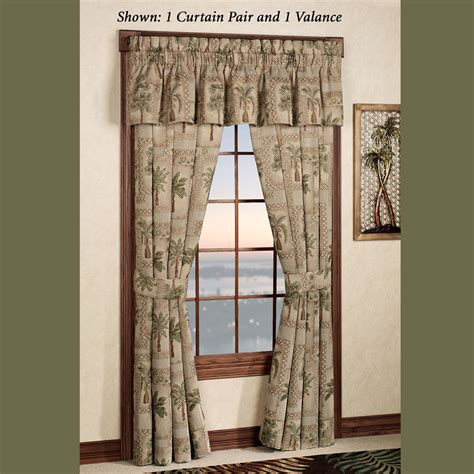palm curtains palm grove tropical palm tree window treatment