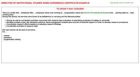 Institutional Support Letter Template lecturer higher studies institute kuwait work experience certificates