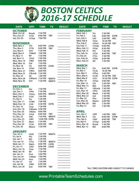 printable schedule for boston celtics 17 best images about nba basketball schedule 2017 on
