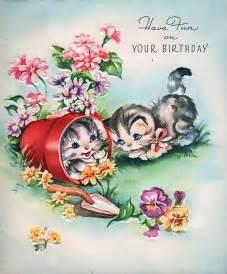 vintage birthday card kittens birthday wishes