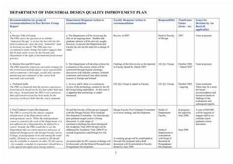 11 Lovely Quality Plan Template Exle Davidhowald Com Davidhowald Com Quality Improvement Plan Template