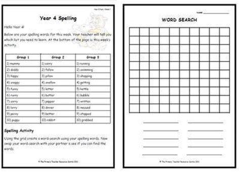 printable spelling games for year 6 year 4 weekly spelling pack 2