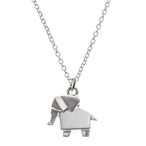 Origami Pendant Necklace - silver silver origami elephant necklace oliver bonas