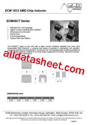 4r7 inductor datasheet ecm45ct 4r7 datasheet pdf ecm electronics limited