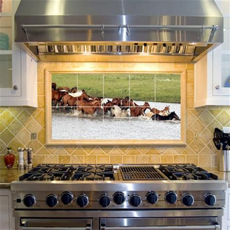 decorative kitchen backsplash horses in water decorative tile mural