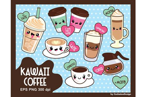 kawaii coffee illustrations creative market