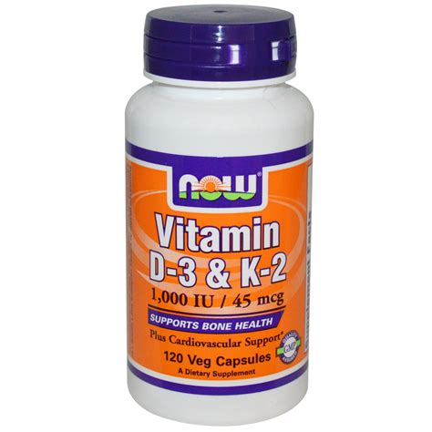 supplement j for niw now foods vitamin d 3 k 2 1 000 iu 45 mcg 120