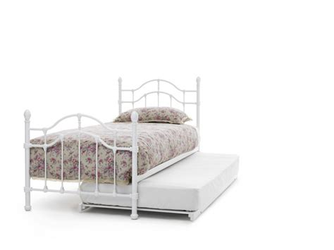 White Gloss Bed Frame Serene 3ft Single White Gloss Metal Guest Bed Frame By Serene Furnishings