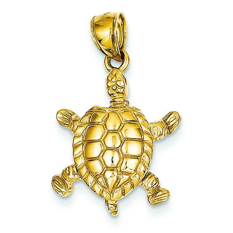 14k gold 3d moveable sea turtle charm pendant jewelry ebay