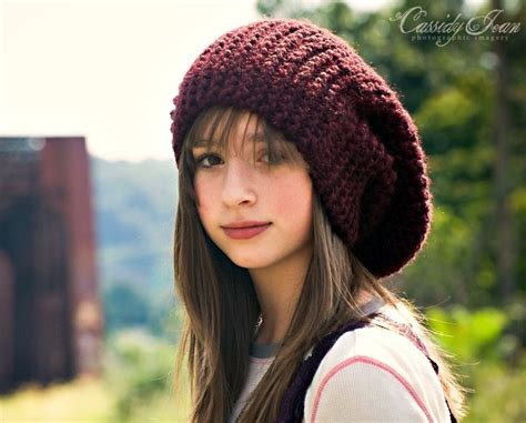 knitted hat knit hat womens hat slouchy beanie slouch hat in oxblood